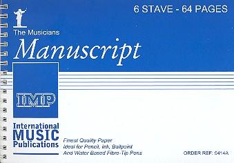 6 Stave 64 Pages DIN A5 Manuscript Paper (spiral), the musicians manuscript