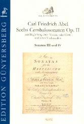 Abel, Karl Friedrich: 6 Cembalosonaten op.2 Nr.3-4 für Violine (Flöte), Violoncello und Cembalo, Partitur und Stimmen