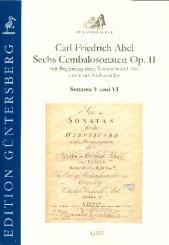 Abel, Karl Friedrich: 6 Cembalosonaten op.2 Nr.5-6 für Violine (Flöte), Violoncello und Cembalo, Partitur und Stimmen