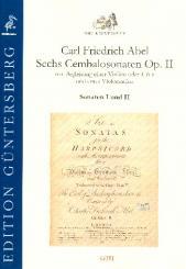 Abel, Karl Friedrich: 6 Cembalosonaten op.2 Nr.1-2 für Violine (Flöte), Violoncello und Cembalo, Partitur und Stimmen