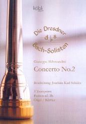 Aldrovandini, Giuseppe: Concerto no.2 für 3 Trompeten und Orgel (Klavier) (Pauken ad lib), Partitur und Stimmen