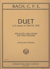 Bach, Carl Philipp Emanuel: Duet in e minor H598 WQ140 for flute and violin (2 violins), 2 scores