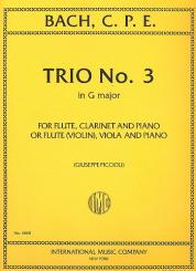 Bach, Carl Philipp Emanuel: Trio G major no.3 for flute, clarinet and piano, (or violin, viola and piano)