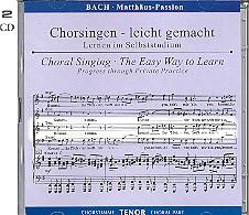 Bach, Johann Sebastian: Matthäus-Passion BWV244 2 CDs Chorstimme Tenor und Chorstimmen, ohne Tenor