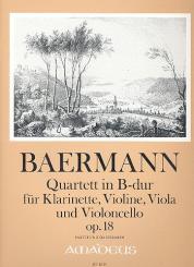 Baermann, Heinrich Joseph: Quartett in B-Dur op.18 für Klarinette/Violine/Viola/Violoncello, Partitur und Stimmen