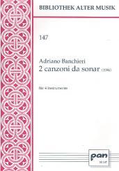 Banchieri, Adriano: 2 canzoni da sonar für 4 Instrumente, Partitur
