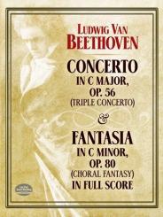 Beethoven, Ludwig van: Konzert C-Dur op.56 für Klavier, Violine, Violoncello und Orchester, Fantasie c-Moll op.80 für Klavier, Chor und Orchester,  Partitur