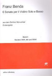 Benda, Franz: 6 Sonaten aus dem Berliner Manuskript Band 2 für Violine und Bc, Partitur und Stimmen (Bc nicht ausgesetzt)
