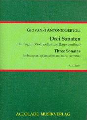 Bertoli, Giovanni Antonio: 3 Sonaten für Fagott (Violoncello) und Bc