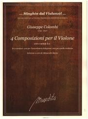 Colombi, Giuseppe: 4 Composizioni per violone con e senza Bc für Violone (Kontrabass) (z.T. mit Bc), Partitur (Bc nicht ausgesetzt)