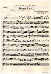 Fasch, Johann Friedrich: Konzert D-Dur für Trompete und Orchester, Streicherset (3-3-2-2-1)