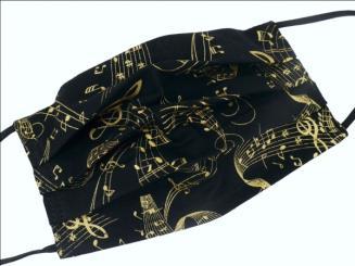 Gesichtsmaske mit Musik Design 34 - Gold Metallic Noten 18,5 x 9,5 cm