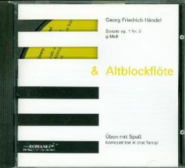 Händel, Georg Friedrich: Sonate op.1 Nr.2 g-Moll für Altblockflöte und Klavier CD, Korrepetition in 3 Tempi