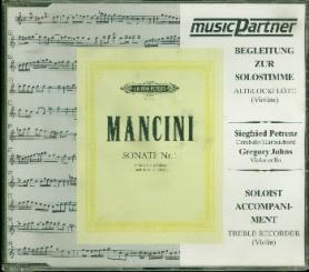 Mancini, Francesco: Sonate d-Moll Nr.1 für Altblockföte (Violine) und Bc, Begleitung zur Solostimme