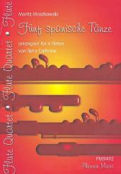 Moszkowski, Moritz: 5 spanische Tänze op.12 für 4 Flöten Partitur und Stimmen