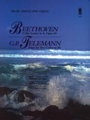 Music minus one Cello Sonata a major op.69 (Beethoven)  and, Duet bb major for 2 cellos (Telemann)