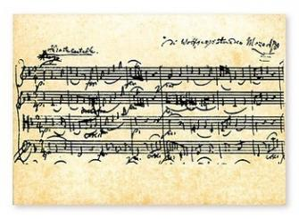 Notenpostkarten Mozart 10,5x14,8cm, (Verpackungseinheit 10 Stück)
