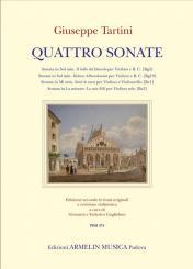 Tartini, Giuseppe: 4 Sonate per violino (e violoncello) e Bc, partitura e parti