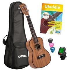 Ukulele-Set Premium Mahagoni für Konzert-Ukulele (dt), (Buch +Audio Online +Instrument +Tasche +3 Picks +Tuner)