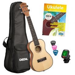 Ukulele-Set Premium Mahagoni/Fichte für Konzert-Ukulele (dt), (Buch +CD +Instrument +Tasche +3Picks +Tuner)