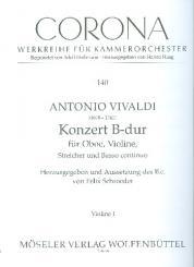 Vivaldi, Antonio: Konzert B-Dur für Oboe, Violine, Streicher und Bc, Stimmenset (3-3-2-3)