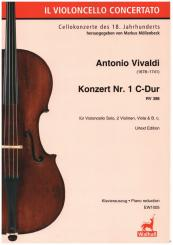 Vivaldi, Antonio: Konzert Nr.1 C-Dur RV398 für Violoncello, 2 Violinen, Viola und Bc, Klavierauszug