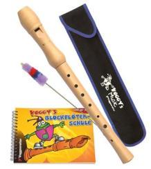 Voggy' Blockflöten-Set Holzblockflöte (deutsche Griffweise), Stofftasche, Wischer und Schule