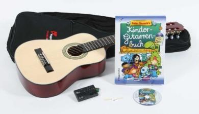 Voggy's Kindergitarren-Set 3/4 Akustik-Gitarre (3/4 Größe), Tasche, Schule, Plektrum, Stimmgerät